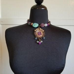 Purple and Turquoise Beaded Choker.